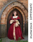 woman in medieval clothes... | Shutterstock . vector #1099356692