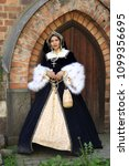 woman in medieval clothes... | Shutterstock . vector #1099356695
