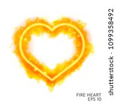 watercolor flaming heart with... | Shutterstock .eps vector #1099358492