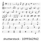 vector music notes  drawn... | Shutterstock .eps vector #1099362962