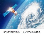 satellite above the earth makes ... | Shutterstock . vector #1099363355