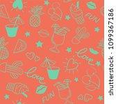 seamless summer pattern on pink ... | Shutterstock .eps vector #1099367186