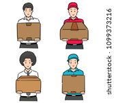 vector set of man lifting box | Shutterstock .eps vector #1099373216