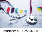 stethoscope  charts and graphs... | Shutterstock . vector #1099382342