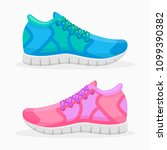 blue and pink running shoes... | Shutterstock .eps vector #1099390382