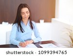 young brunette business woman... | Shutterstock . vector #1099394765