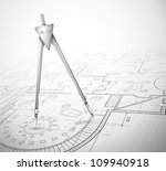 architectural plan with compass.... | Shutterstock .eps vector #109940918