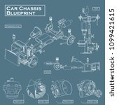 car chassis blueprint vector | Shutterstock .eps vector #1099421615