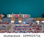 top view of international port...   Shutterstock . vector #1099425716