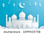 happy eid mubarak greeting card ... | Shutterstock .eps vector #1099425758