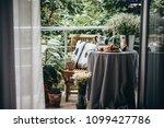 breakfast served on a beautiful ... | Shutterstock . vector #1099427786