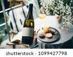 wine bottle in hand. blank... | Shutterstock . vector #1099427798
