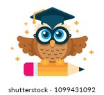 Stock vector cute and sweet owl school learning symbol vector file 1099431092