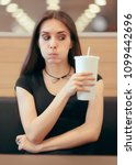 woman with soda disposable cup... | Shutterstock . vector #1099442696