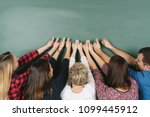 enthusiastic group of adult... | Shutterstock . vector #1099445912