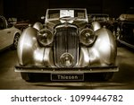 Small photo of BERLIN - MAY 06, 2018: Rare car Lagonda V12 Drophead Coupe, 1938. Toning. Stylization. Exhibition 31. Oldtimertage Berlin-Brandenburg (31th Berlin-Brandenburg Oldtimer Day).