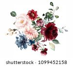 Stock photo  watercolor flowers floral illustration leaf and buds botanic composition for wedding or 1099452158