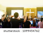 many people are worship to god... | Shutterstock . vector #1099454762