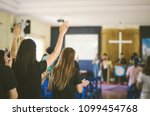 many people are worship to god... | Shutterstock . vector #1099454768