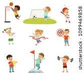 cute little children playing... | Shutterstock .eps vector #1099469858