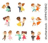 couple of little kids dancing... | Shutterstock .eps vector #1099470842