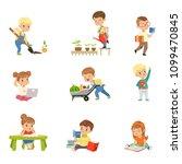 adorable little kids reading... | Shutterstock .eps vector #1099470845