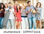 happy millennials friends... | Shutterstock . vector #1099471616