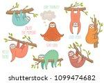 set of cute hand drawn sloths... | Shutterstock .eps vector #1099474682