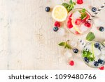 various berry lemonade or... | Shutterstock . vector #1099480766