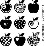 Set Of  Apple Icon Isolated On...