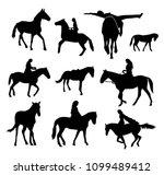 set of vector horses silhouettes | Shutterstock .eps vector #1099489412