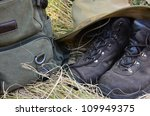 hiking boots  backpack and hat... | Shutterstock . vector #109949375