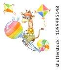 cute cartoon giraffe flies on a ... | Shutterstock . vector #1099495148