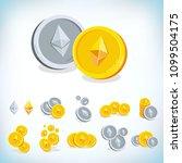 ethereum. 2d cartoon coin.... | Shutterstock .eps vector #1099504175