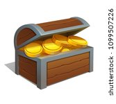 open wooden chest with gold... | Shutterstock .eps vector #1099507226