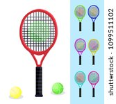 colored tennis rackets with... | Shutterstock .eps vector #1099511102
