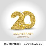 20th anniversary card template... | Shutterstock .eps vector #1099512392