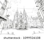 france. lyon. church of saint... | Shutterstock .eps vector #1099526108