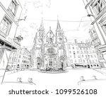 france. lyon. church of saint... | Shutterstock .eps vector #1099526108