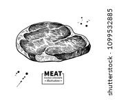 raw beef steak vector drawing.... | Shutterstock .eps vector #1099532885