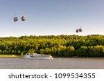 tourist boat floats along the... | Shutterstock . vector #1099534355