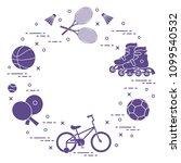 badminton rackets and... | Shutterstock .eps vector #1099540532