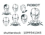 android set. robotic face.... | Shutterstock .eps vector #1099541345