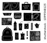 set of hand drawn packed lunch...   Shutterstock .eps vector #1099548125