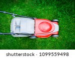 top view on mowing the grass.... | Shutterstock . vector #1099559498