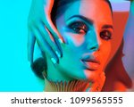 high fashion model woman in... | Shutterstock . vector #1099565555
