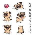 cartoon character pug dog poses....   Shutterstock .eps vector #1099571765