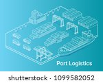 port logistics illustration in... | Shutterstock .eps vector #1099582052