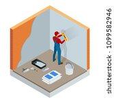 isometric plasterer renovating... | Shutterstock .eps vector #1099582946