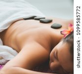 spa stone massage concept ... | Shutterstock . vector #1099585772
